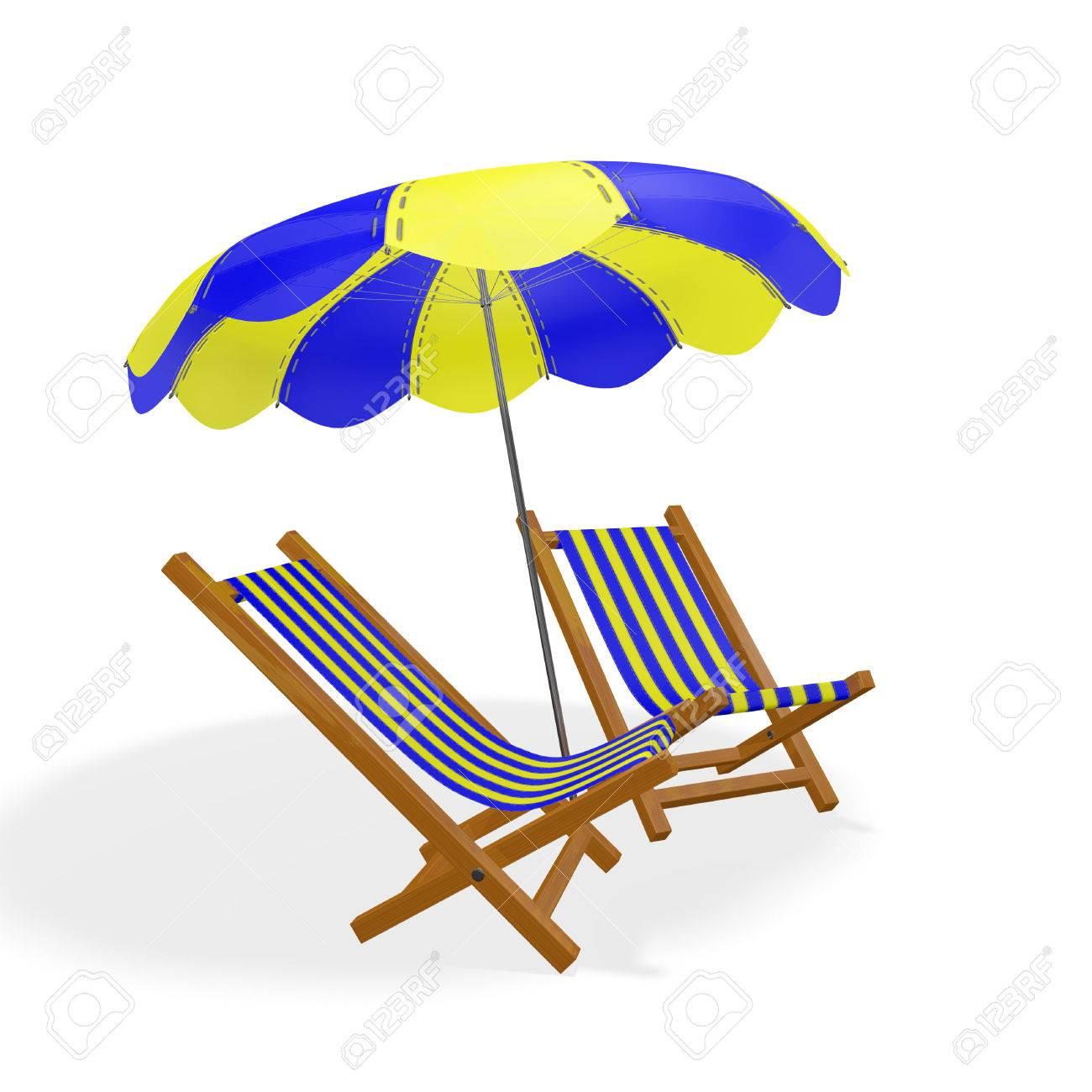 Parasol Rayée Chaises Longues Des Illustration Placées Plage Et Bleues Pour Jaunes Sous Sur 3d Un De Deux Une CorrespondantIsolé BlancIdéal Ou fg7Yby6v