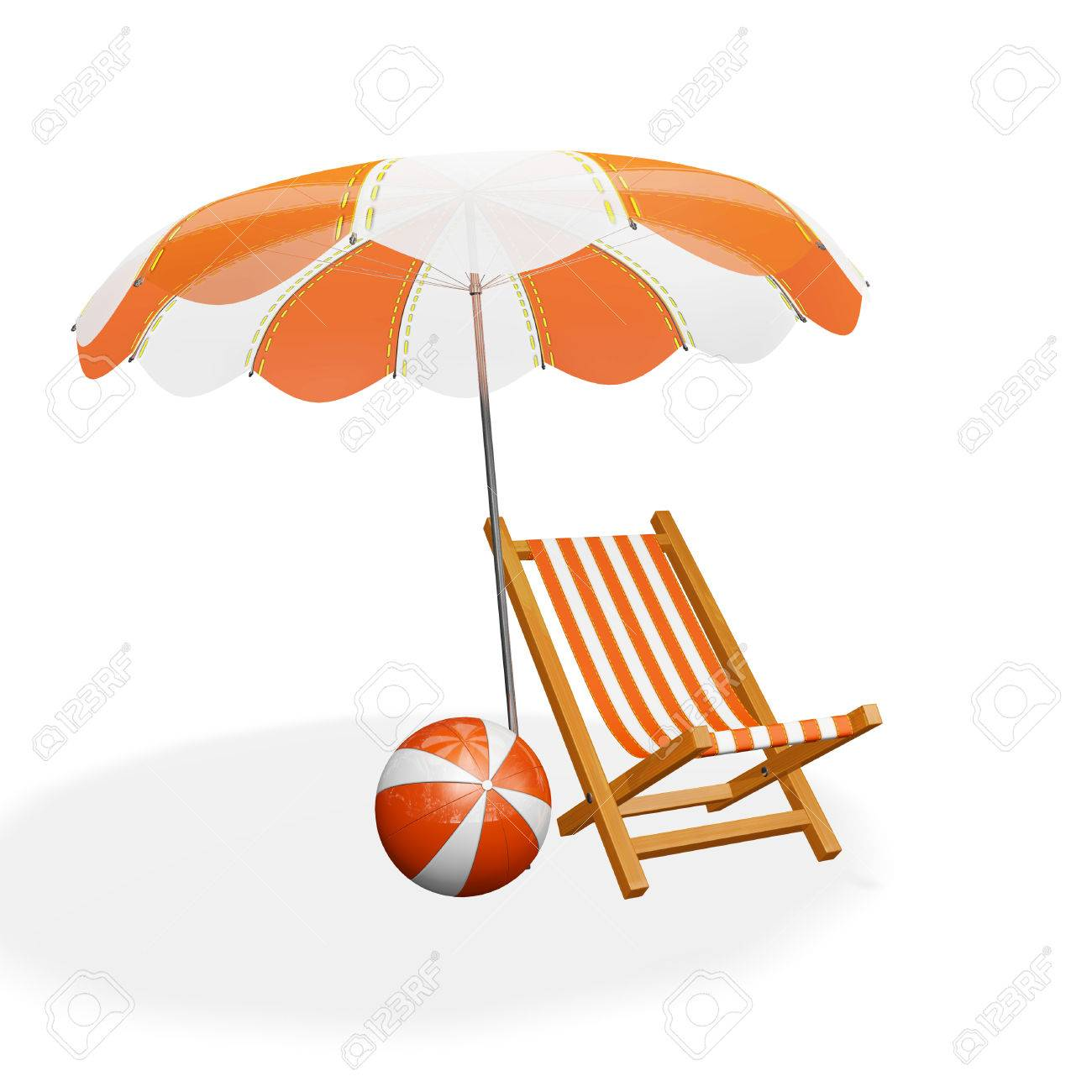 Una Ilustración 3D De Una Silla De Playa Descansando Rayas Naranja Y Blanco  Bajo Un Parasol Y Una Pelota De Playa Situada Cerca De Ella d18dbdc90ede