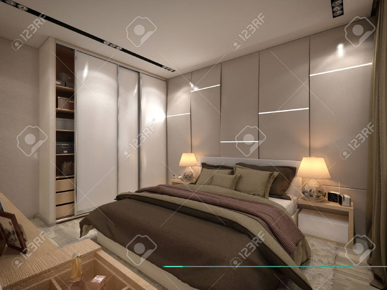 3d Render Bedroom In A Private House In Brown And Beige Colors Stock
