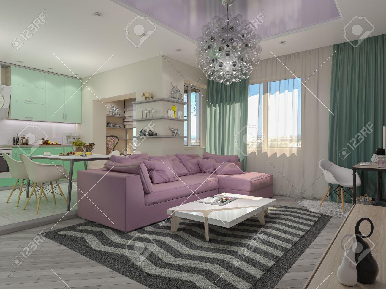 3d afbeelding van kleine appartementen in pastel kleuren. groene ...