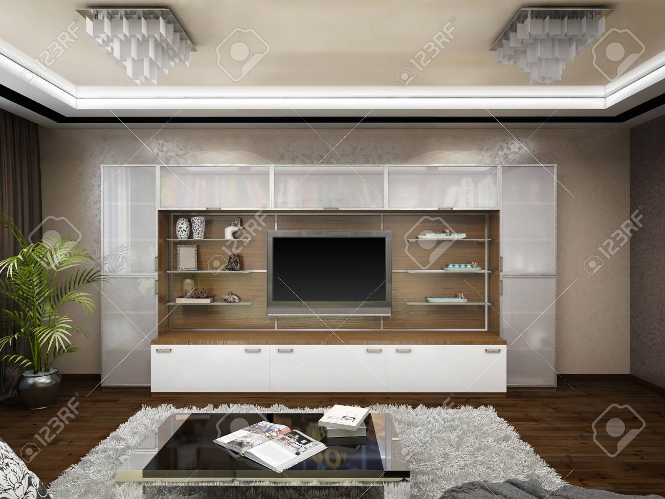 3D render of design of a living room in beige tones - 41962163