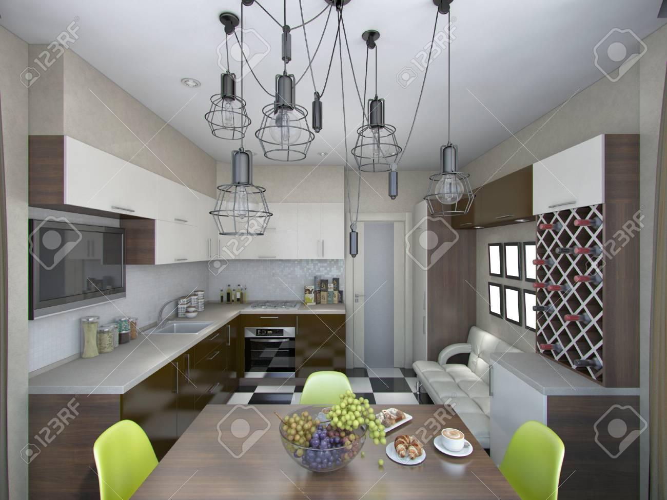 3d rendering of modern kitchen in brown and beige tones - 41962191