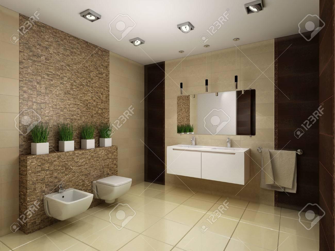 3d Des Badezimmers In Brauntonen Machen Lizenzfreie Fotos Bilder
