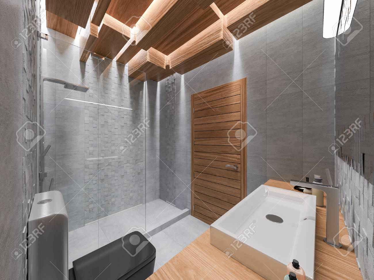 Immagini stock d rendering di un bagno in una pietra grigia e