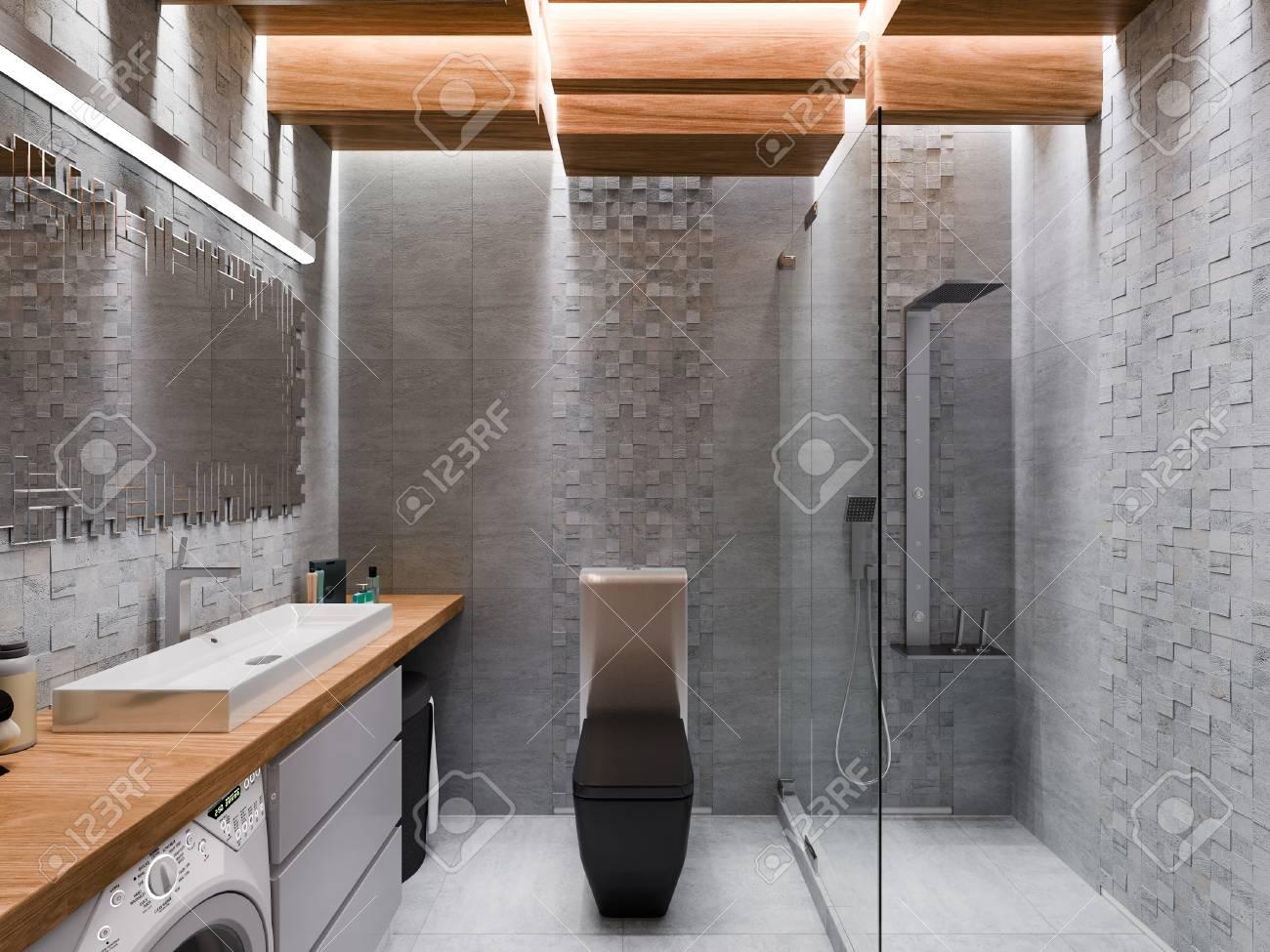 3d Rendent D Une Salle De Bains Dans Une Pierre Grise Et Un Plafond