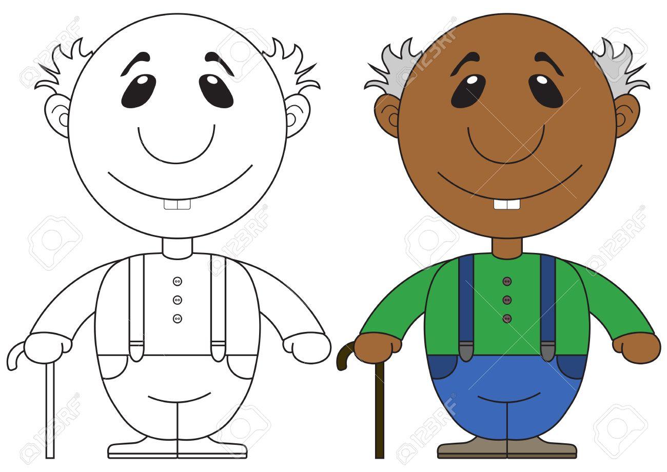Ilustración Del Abuelo Africano Con Una Caña Para Colorear ...