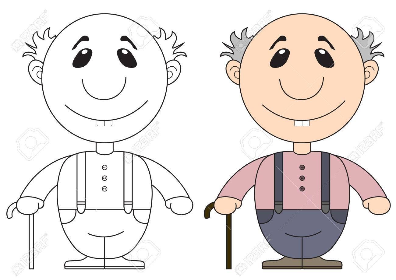 Ilustración Del Abuelo Con Una Caña Para Colorear