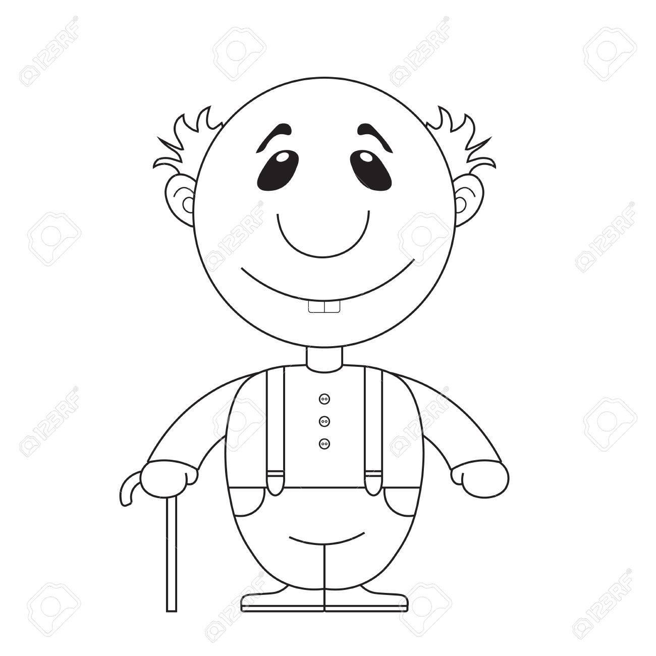 Ilustración Del Abuelo Con Una Caña Para Colorear Ilustraciones ...
