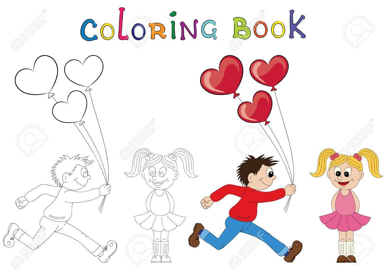 Coloriage Dun Bouquet De Fleurs.Illustration D Un Garcon De Bande Dessinee En Cours D Execution Avec