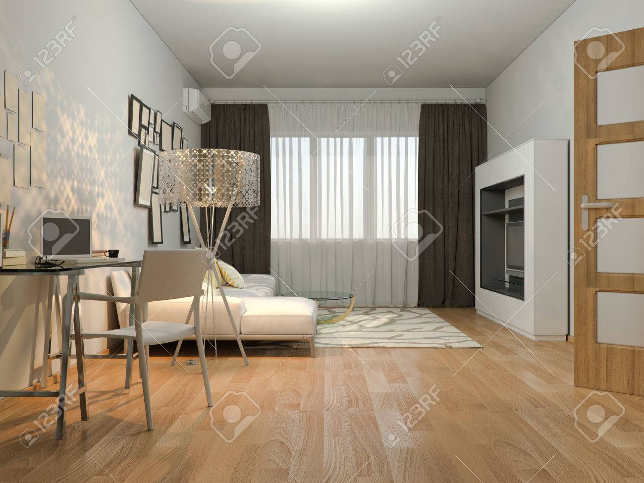 3d Render Of Interior Design Living In A Studio Apartment In Stock Photo Picture And Royalty Free Image Image 52392291