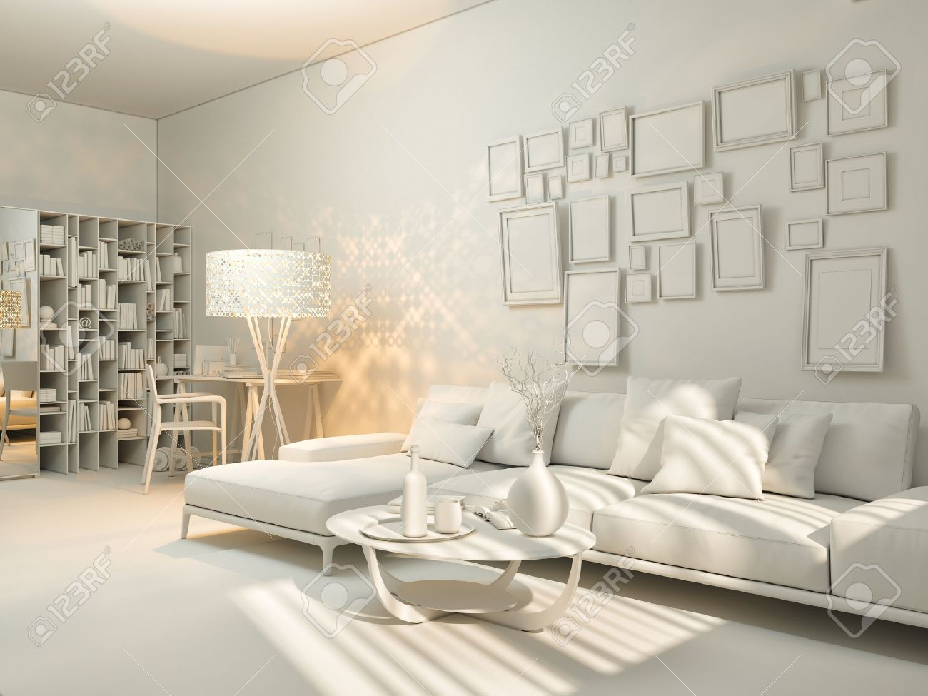 3D Render Of Interior Design Living In A Studio Apartment In A Modern Minimalist  Style.