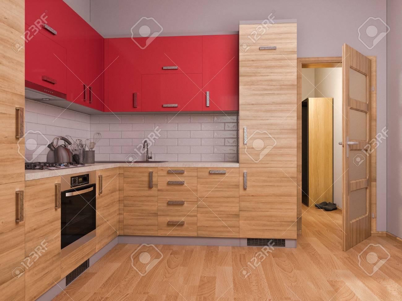 3D Hacen De La Cocina De Diseño De Interiores En Un Apartamento ...