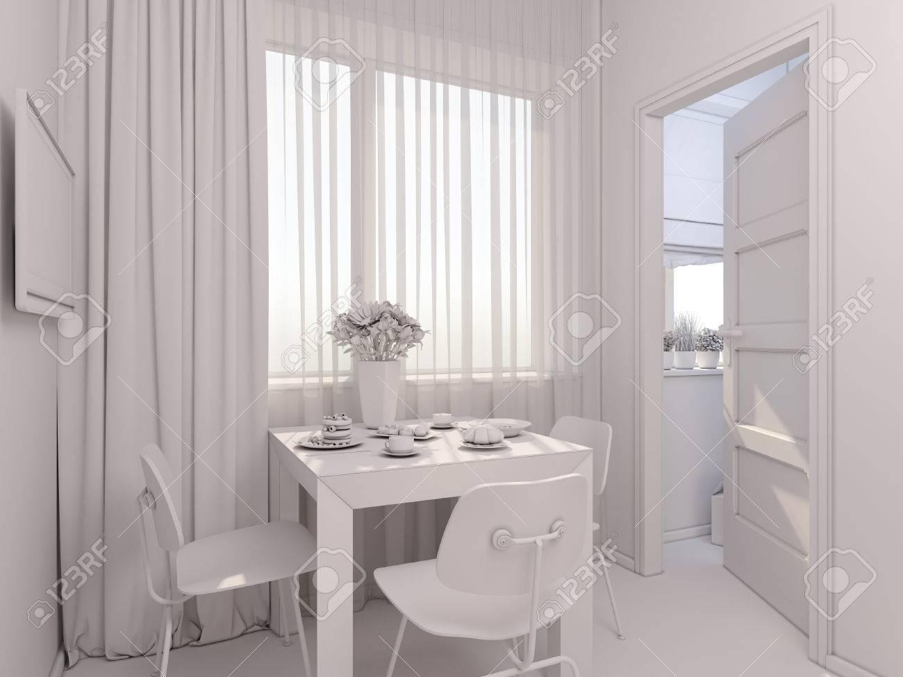 3D Render Of Interior Design Kitchen In A Studio Apartment Modern Minimalist Style