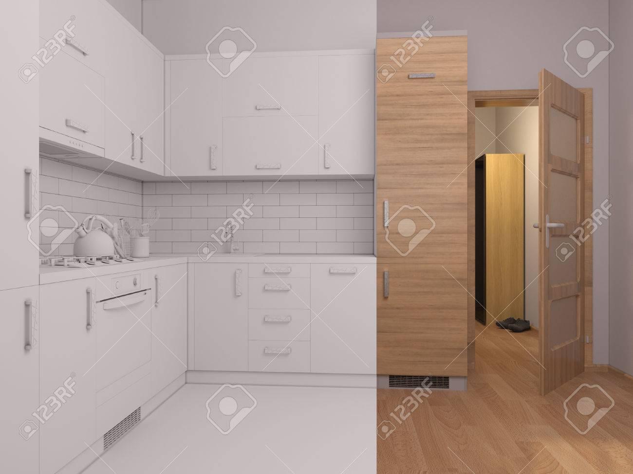 3D Rinden Collage De Cocina De Diseño De Interiores En Un ...