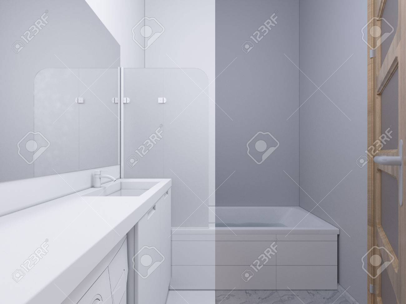 3d Render Collage Of Interior Design Bathroom. The Illustration ...