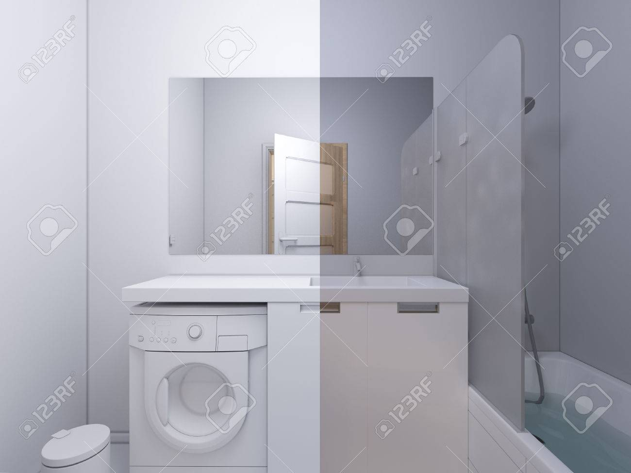 3d Render Collage Of Interior Design Bathroom. The Illustration ...