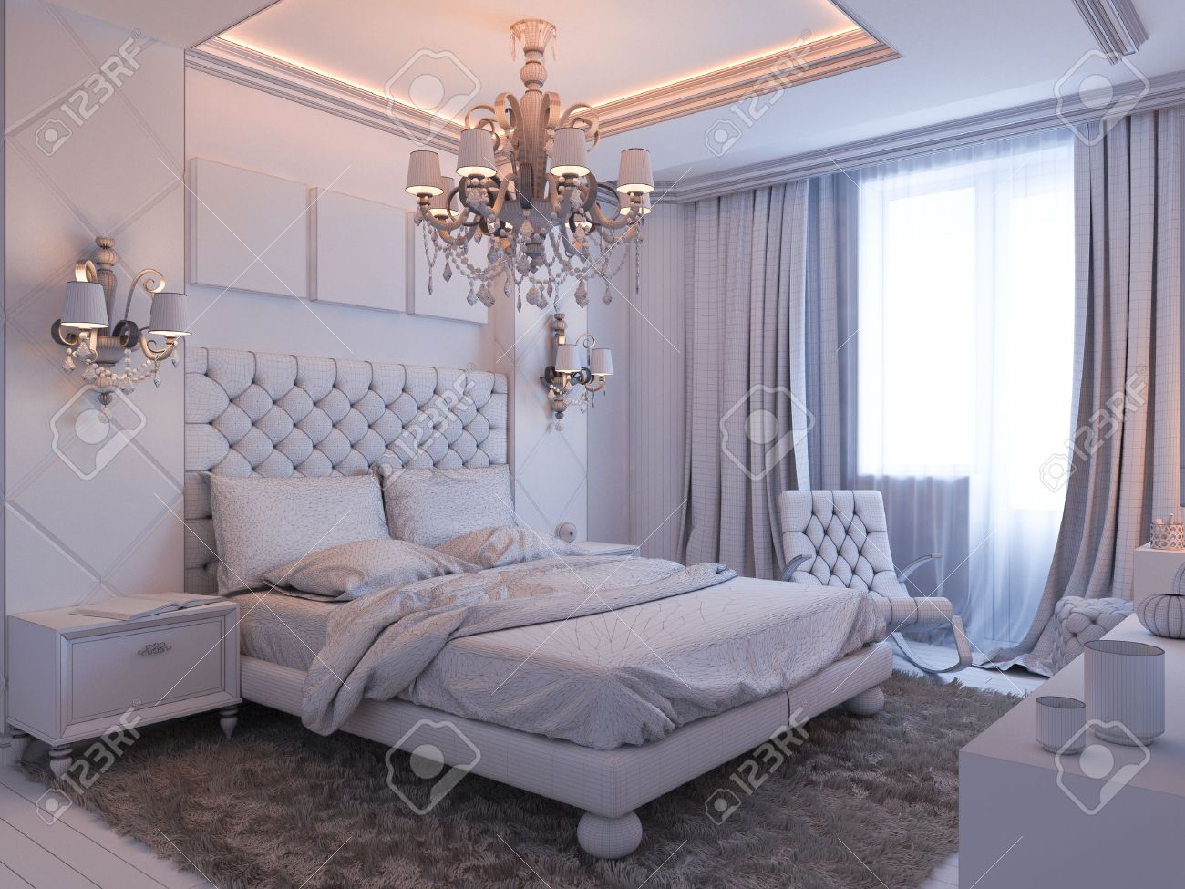 3d Illustration Of Bedroom Interior Design In A Modern Classic Style.  Bedroom Displayed In The