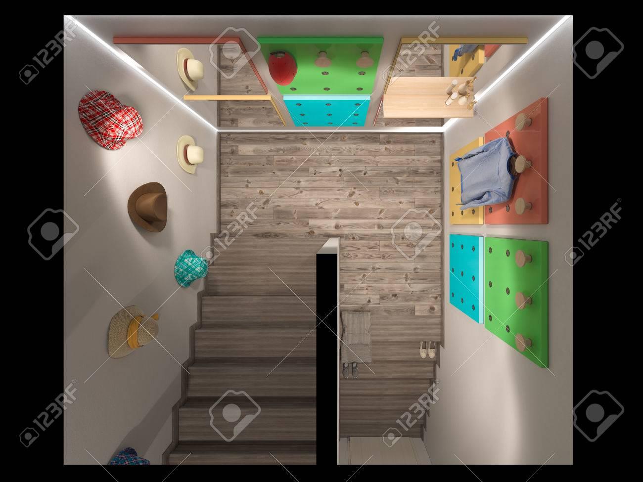 3D-Darstellung Eines Treppenhalle Interieur In Modernem Stil. Auf ...