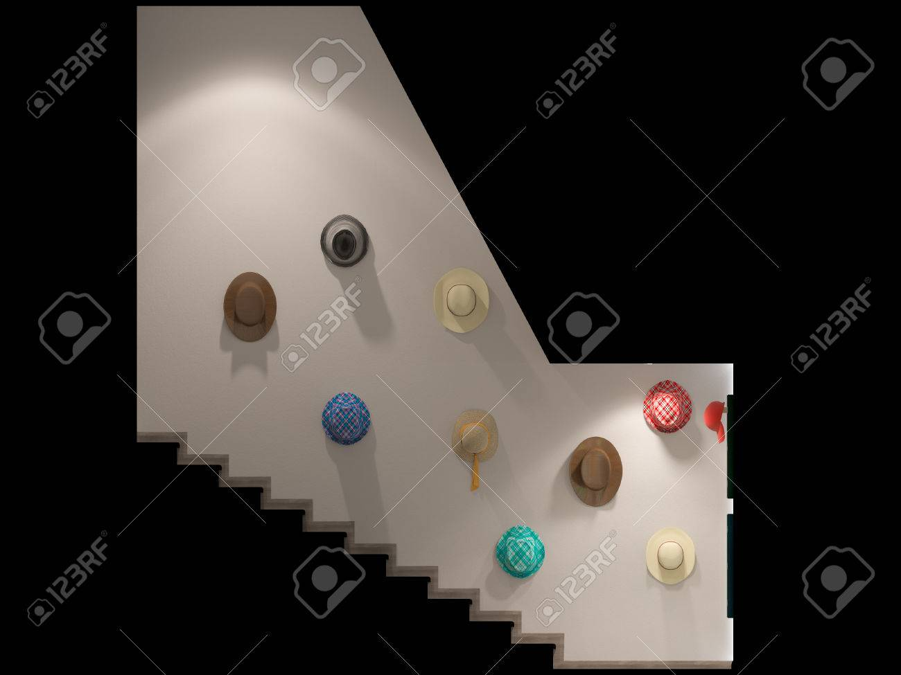 3d Illustration Of A Stair Hall Interior Design In A Modern Style ...