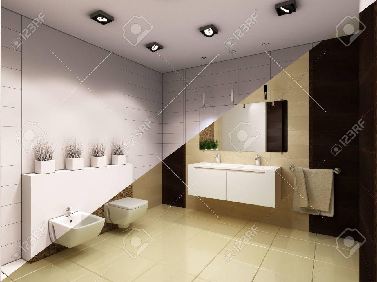 3d Ilustración De Diseño Interior De Un Cuarto De Baño Con Ducha. La ...