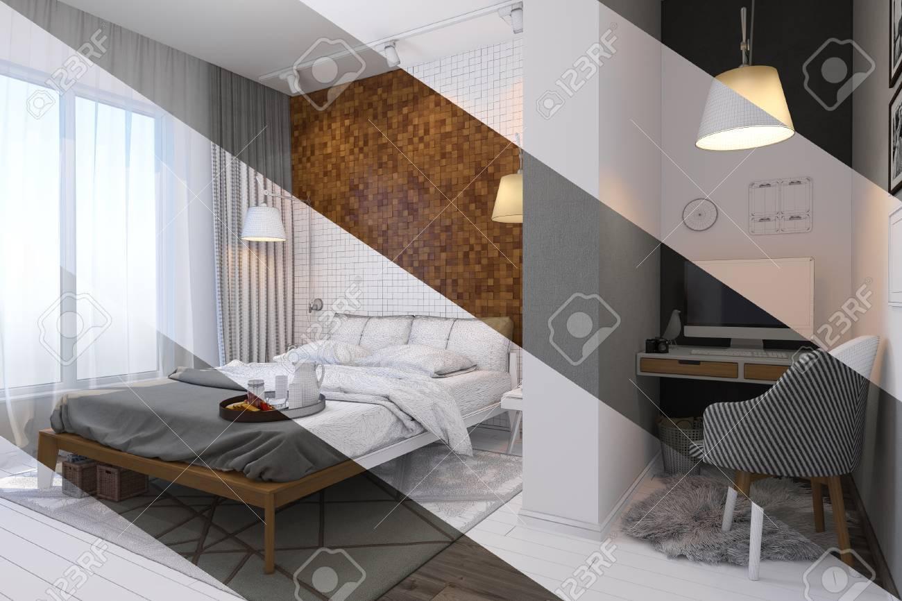 3d illustration de chambre design d\'intérieur dans un style contemporain.  Chambre affichée dans le maillage de polygones sans textures