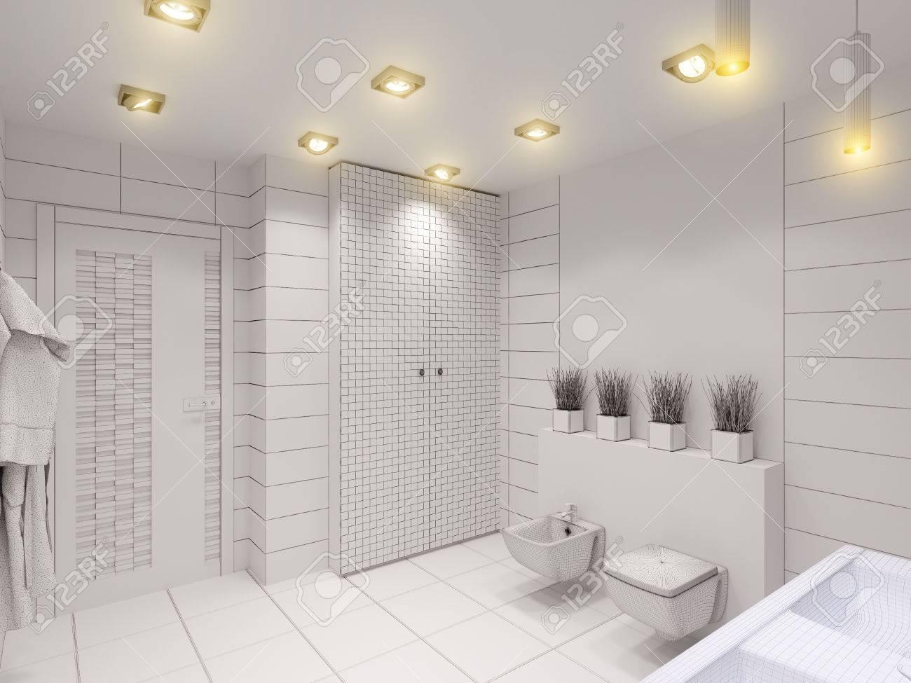 D rendering di bagno senza colore e texture disegno inter di un