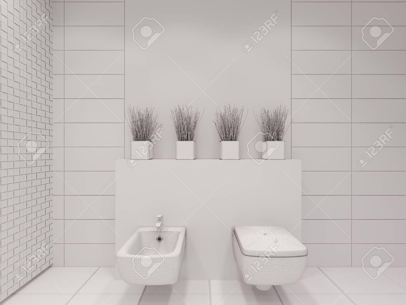 D rendering di bagno senza colore e texture interior design di