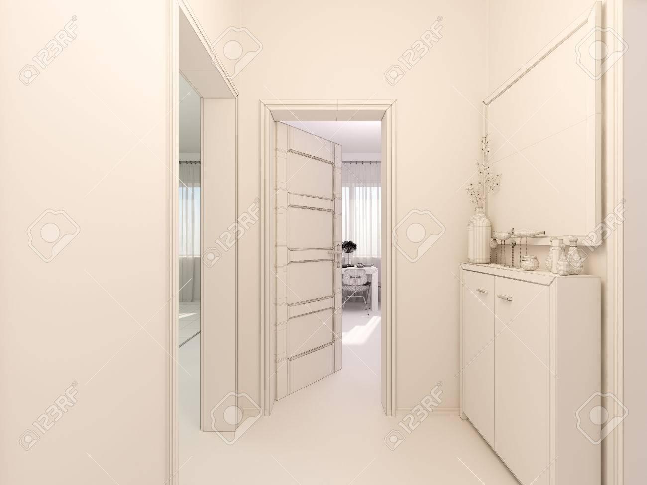 3D In Einem Modernen Minimalistischen Stil In Einem Studio-Apartment ...