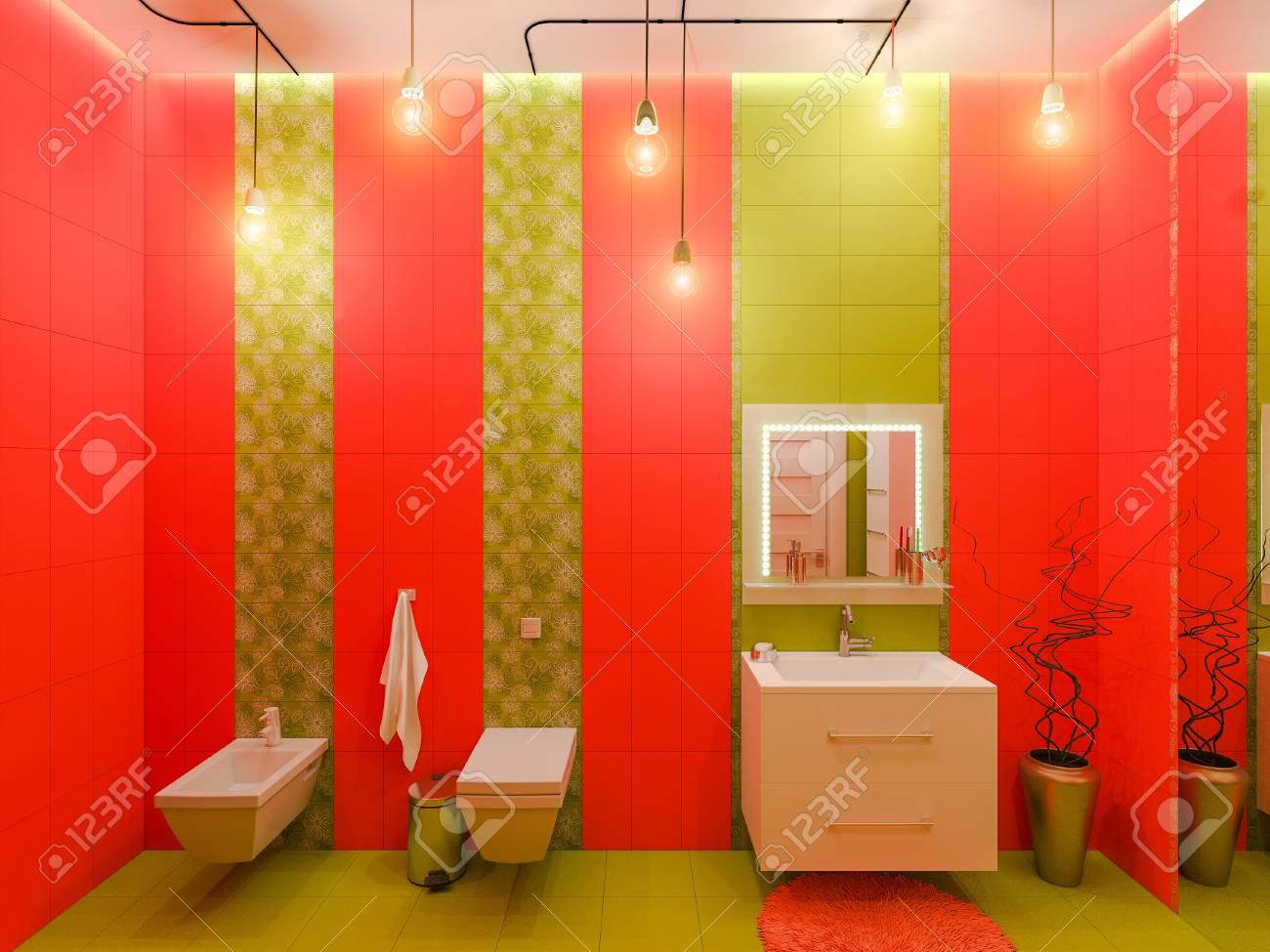 3d Darstellung Eines Bad Interior Design Fur Kinder Render
