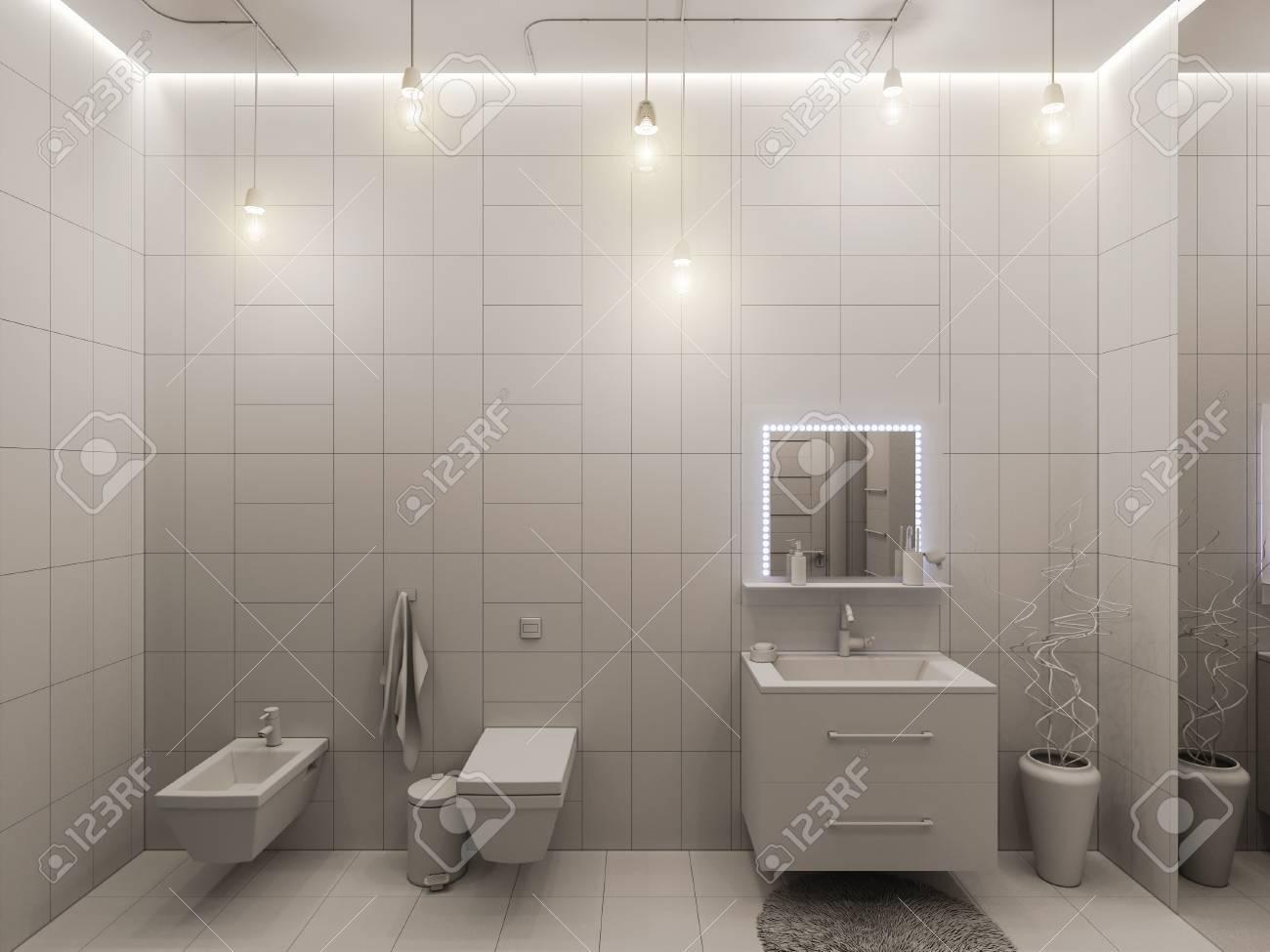 Illustrazione 3d di un bagno di design dinterni per i bambini