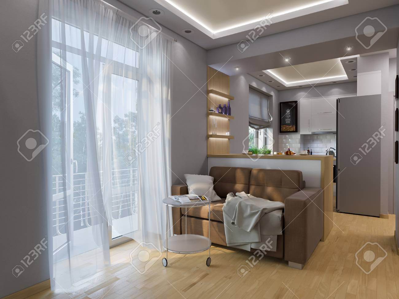 3D Darstellung Wohnzimmer Und Küche Interieur. Moderne Studio Apartment Im  Skandinavischen Minimalistischen Stil