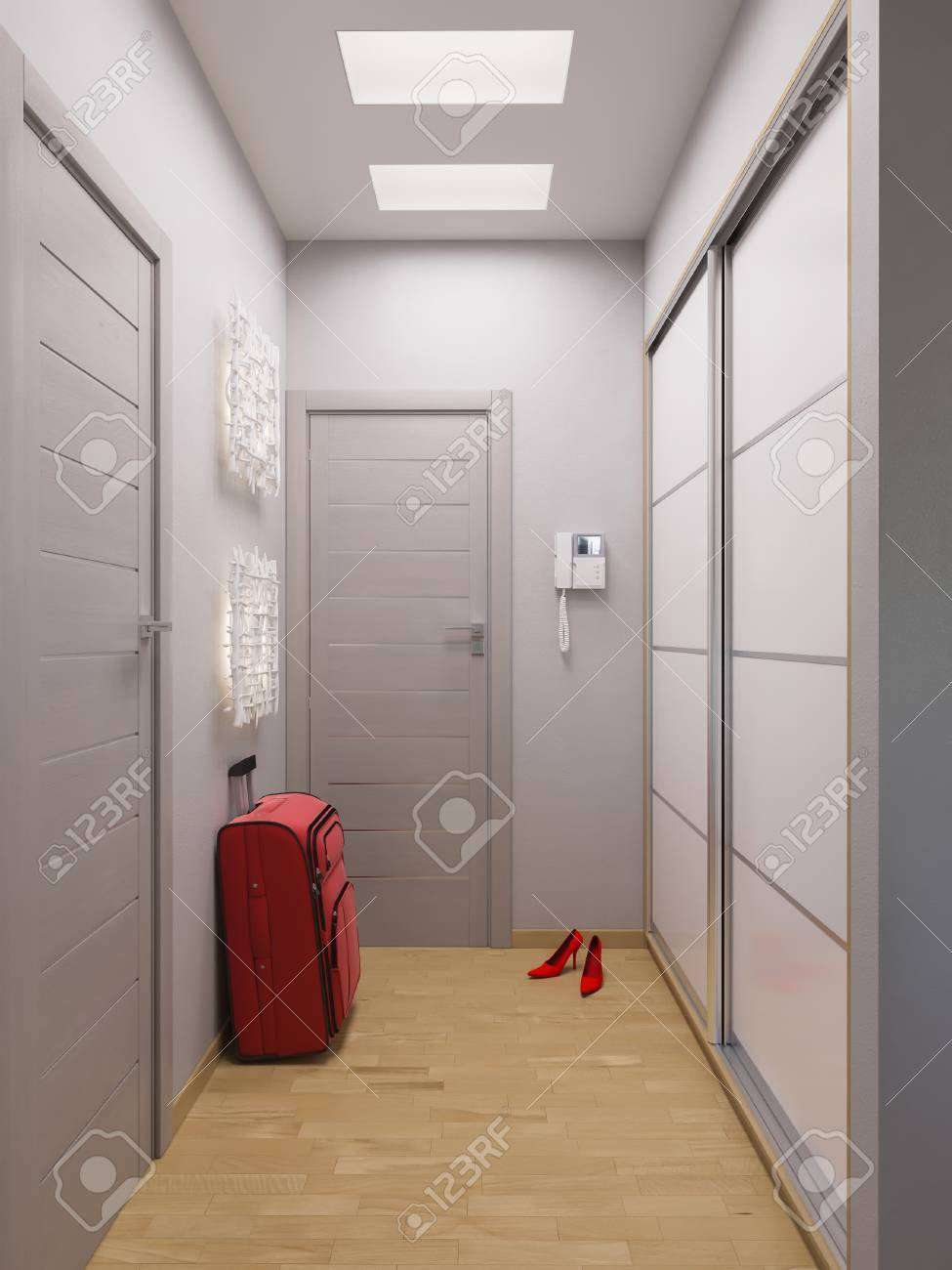 3d Illustration Hallway Interior Design Modern Studio Apartment