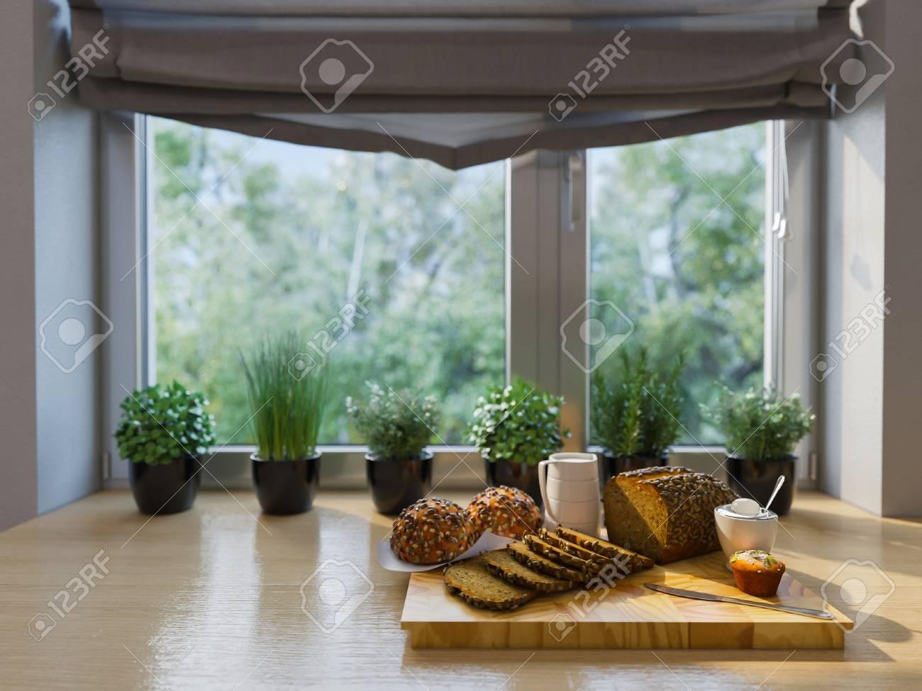 Innenarchitektur Der Küche Des Dekors 3d Illustration. Modernes ...