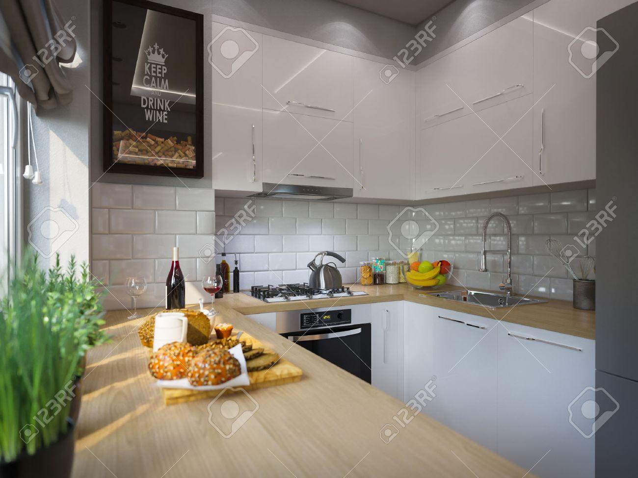 3d Illustration Décor De Cuisine De Design D\'intérieur. Studio ...