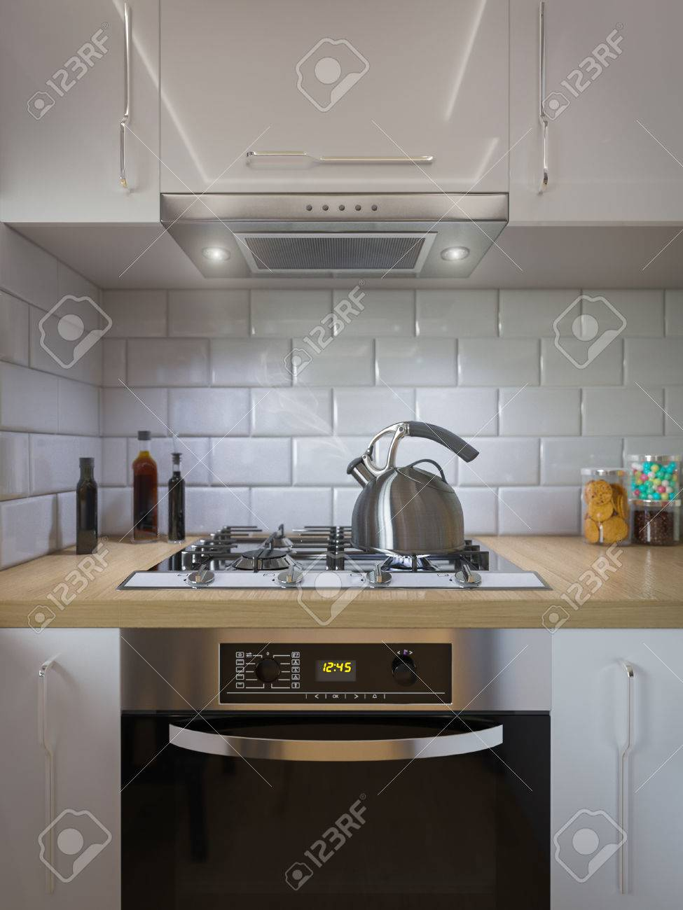 3D-Darstellung Küchendekor Inter-Design. Moderne Studio-Apartment Im ...