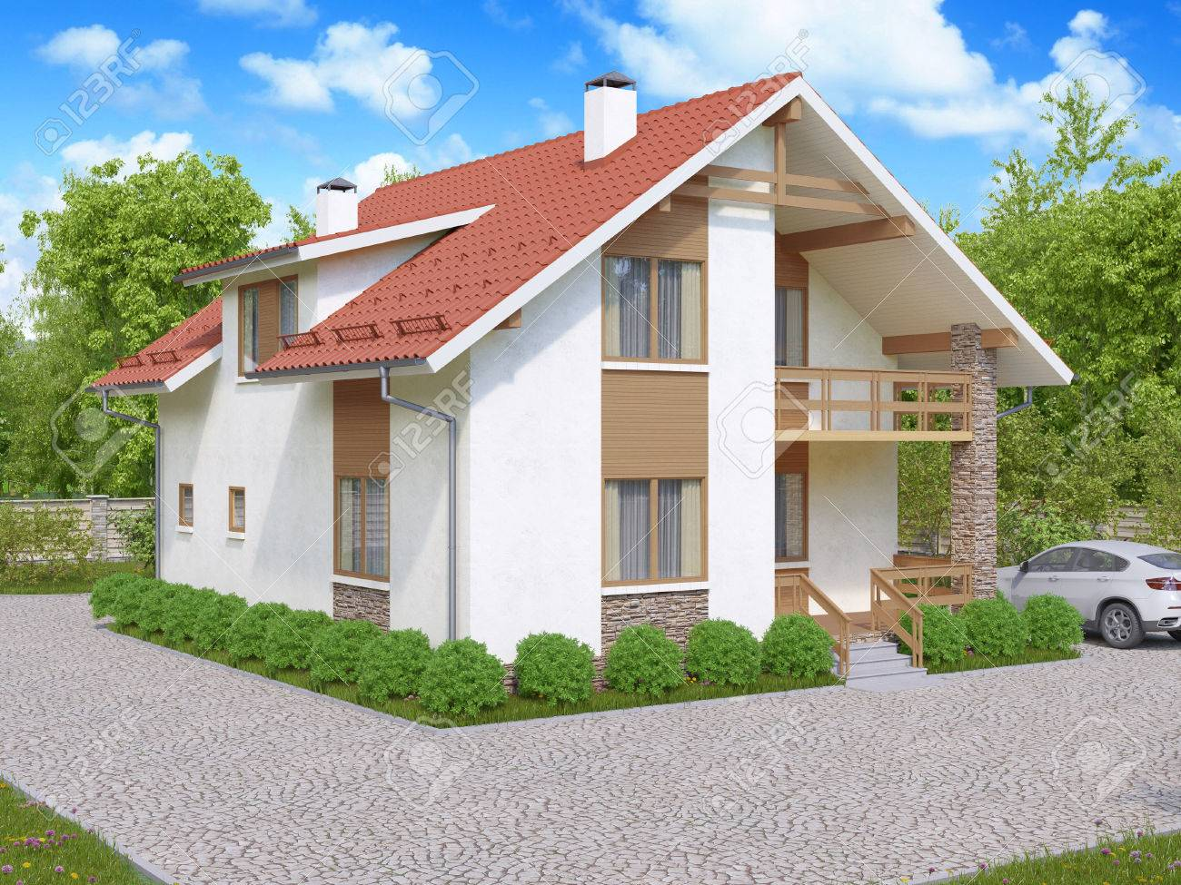 3D-Darstellung Der Privaten Suburban, Zweistöckiges Haus In Einem ...