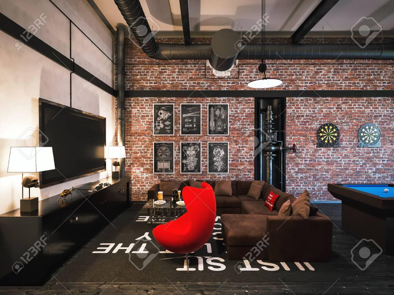 3D-Darstellung Von Innen-Design Im Loft-Stil. Das Konzept Von ...