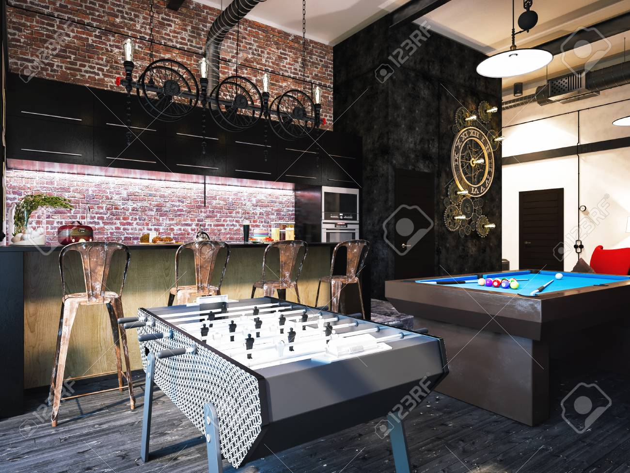 3d Illustration Of Interior Design Loft Style The Concept Of Stock Photo Picture And Royalty Free Image Image 60053275