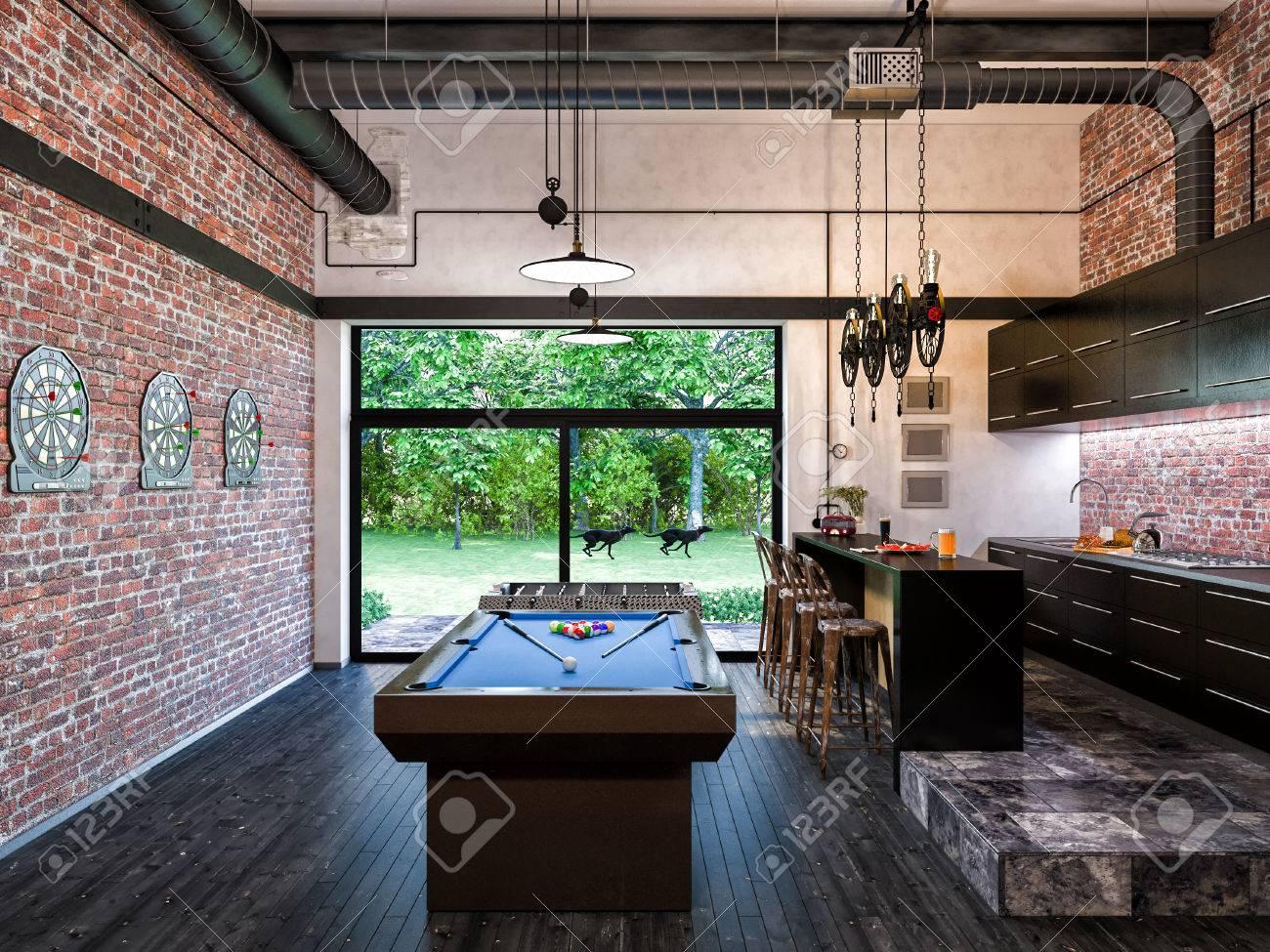 3d Ilustración De Cocina De Diseño Interior De Estilo Loft Y Sala De ...