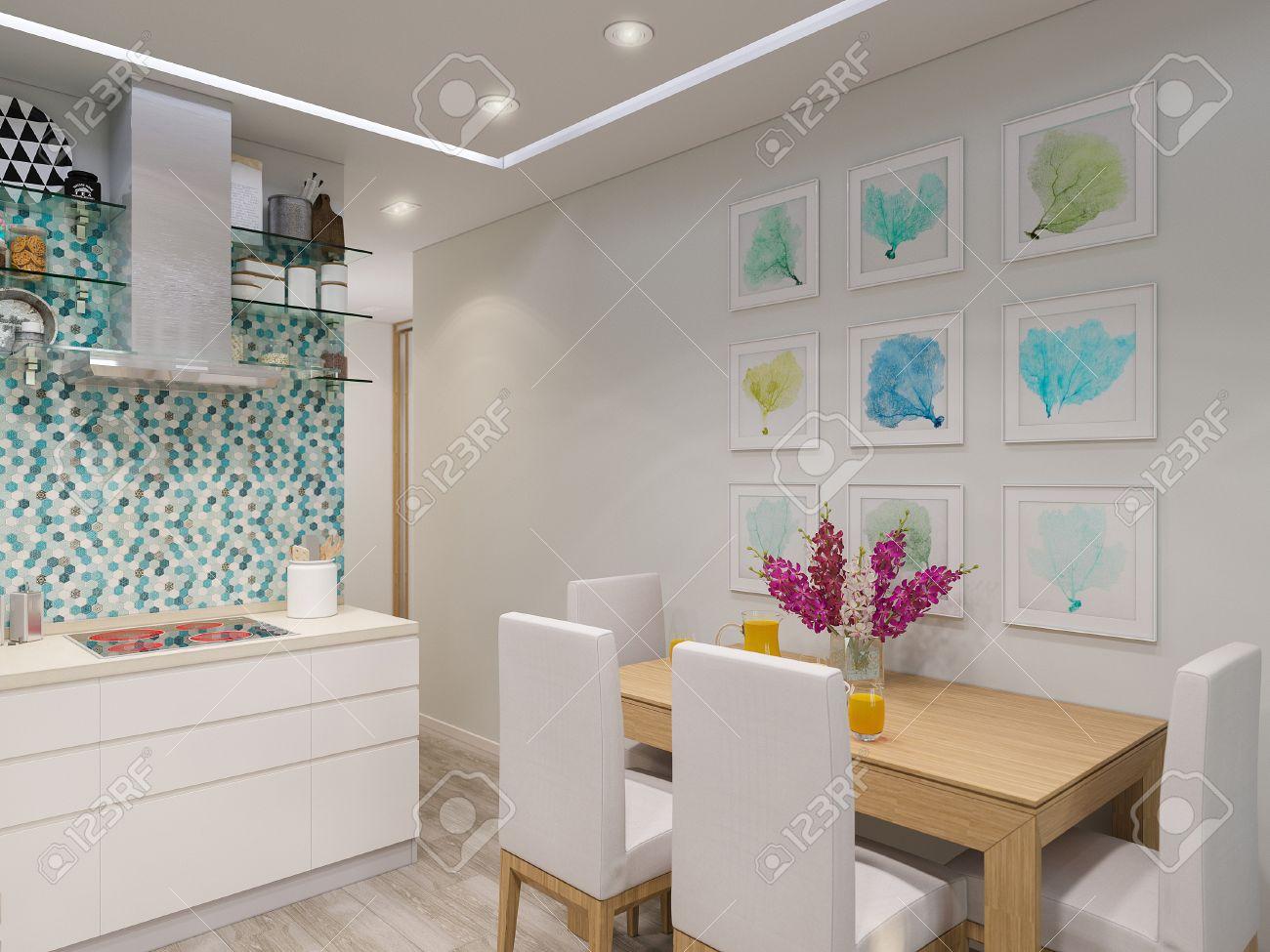 3d Interior, Ilustración, Diseño De La Cocina Moderna Con Fachadas ...