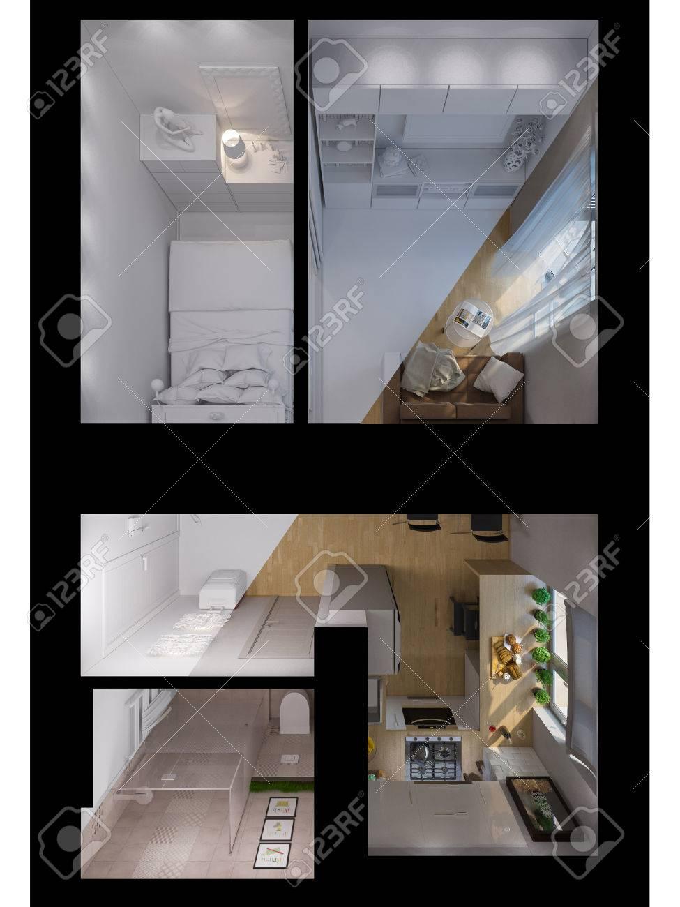 Diseño De Interiores Estudio De Ilustración 3d Apartamento En La ...