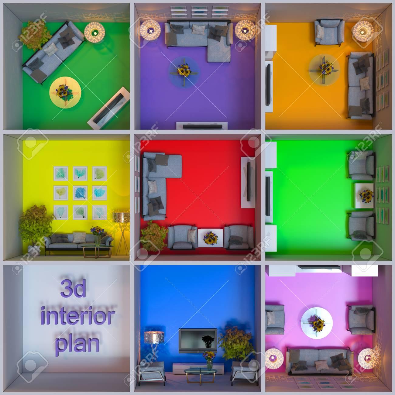 3D-Darstellung Der Innenarchitektur Von Wohnungen Im Würfel ...