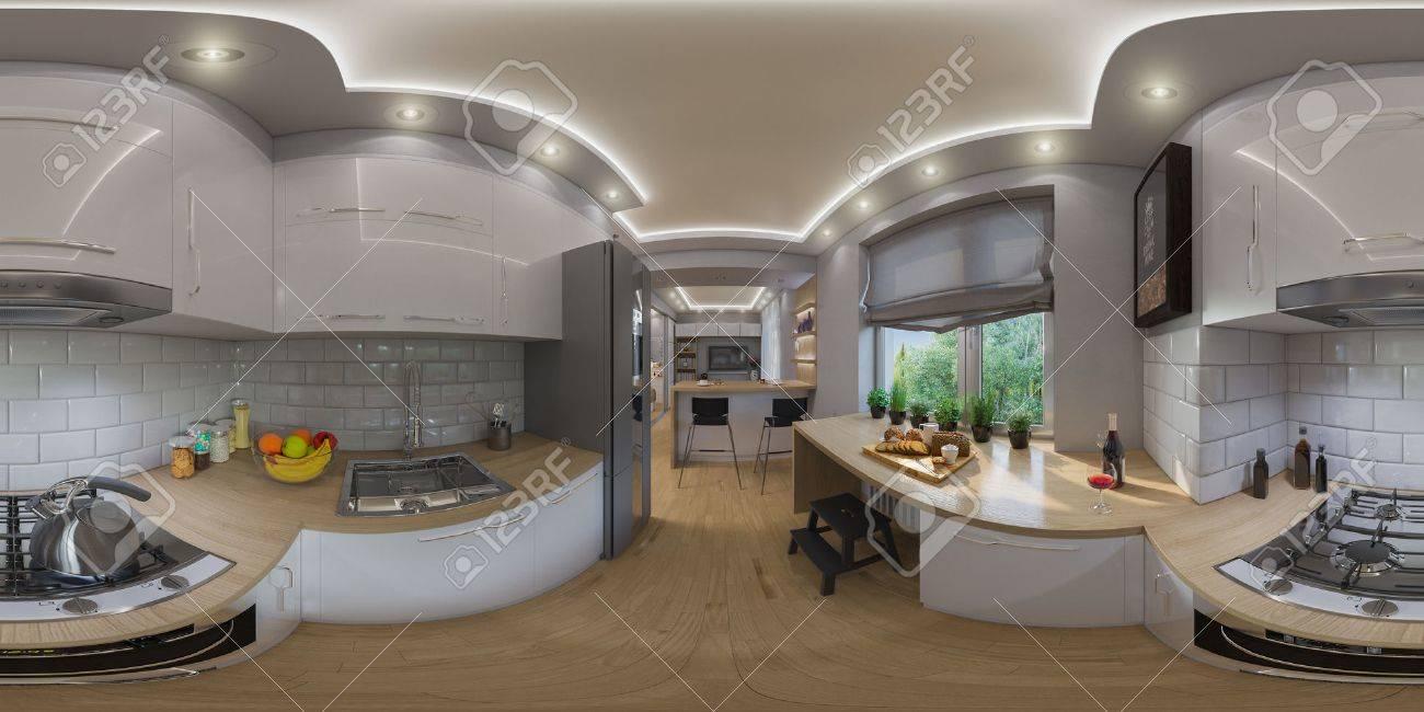 3d Illustration Sphériques 360 Degrés, Panorama Continu De Salon ...
