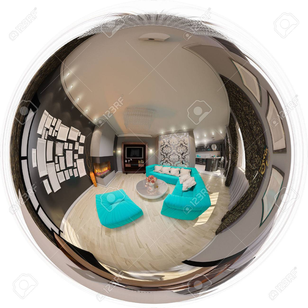 3d illustration spherical 360 degrees, seamless panorama of living room interior design. The design of the living room in the art deco style with turquoise accents - 64190318