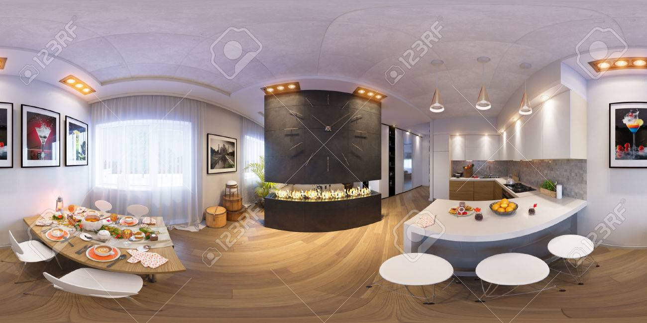 3d Darstellung Spharischer 360 Grad Nahtloses Panorama Von Kuche