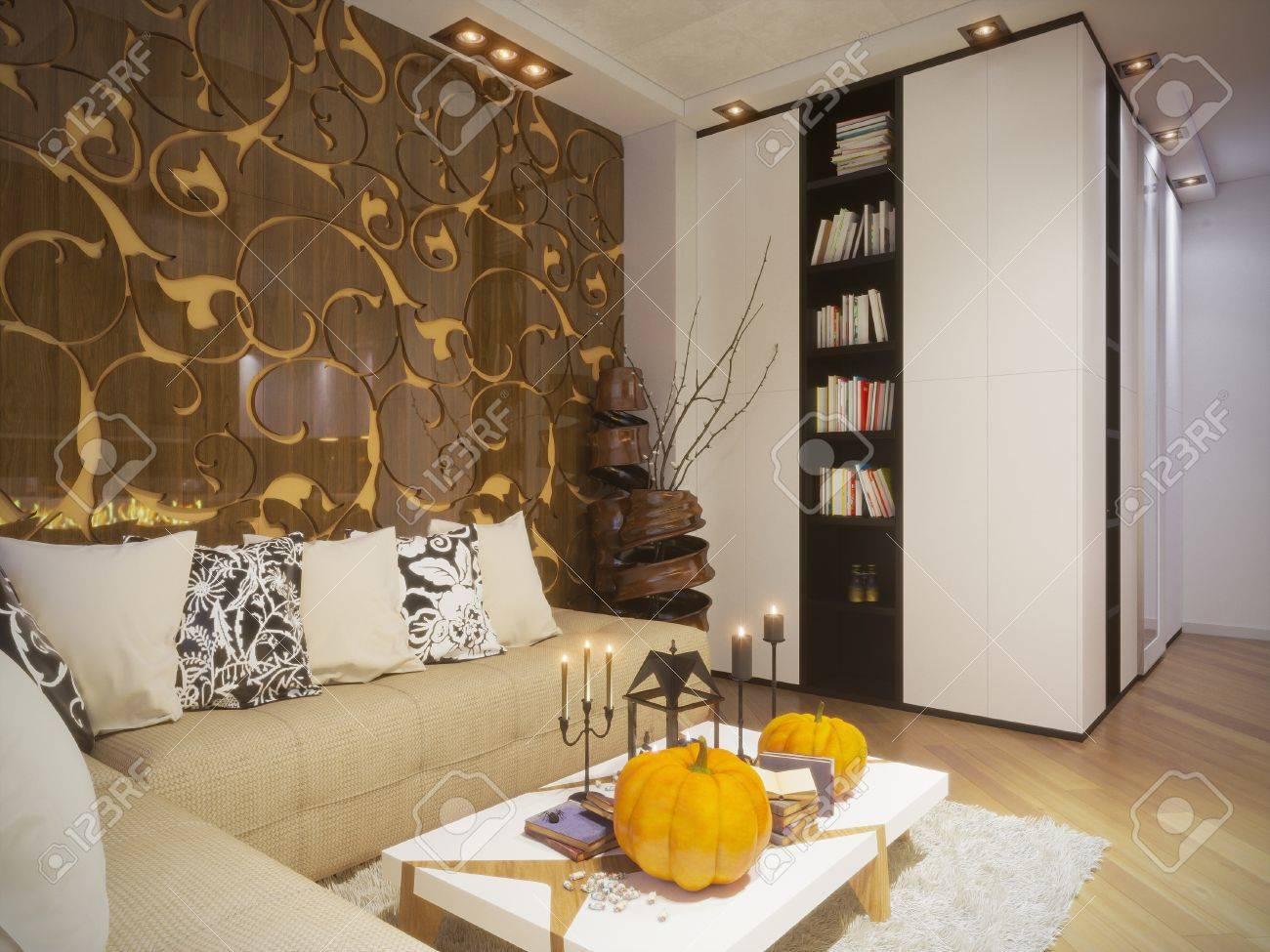 3D-Darstellung Der Innenarchitektur Wohnzimmer In Einem ...
