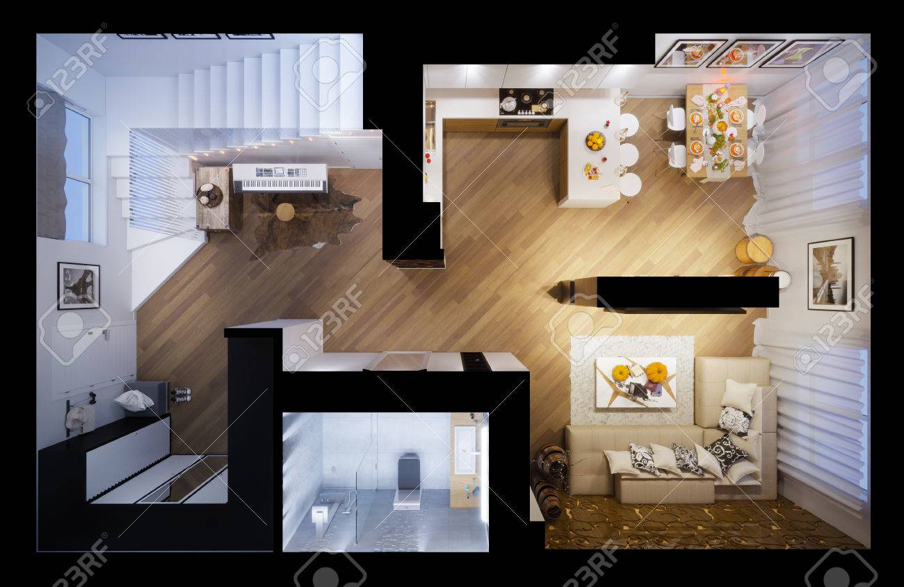 3d Illustration Of A Townhouse Interior Design In A Modern Style ...