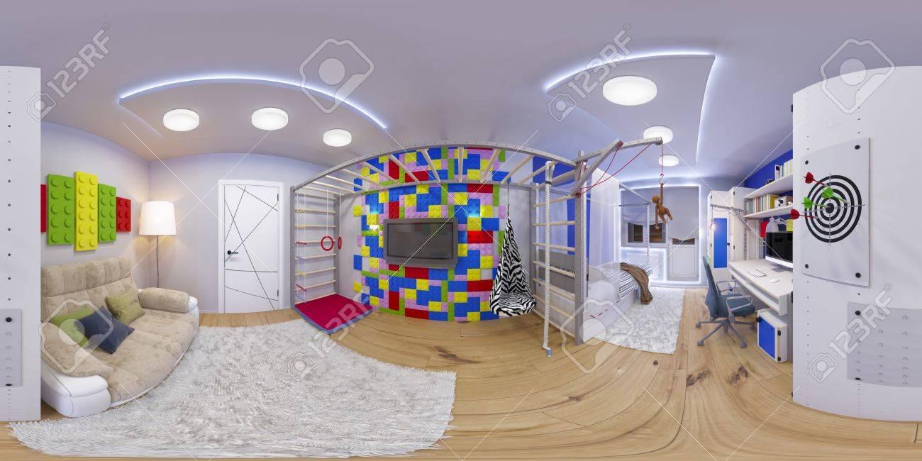 3D-afbeelding Bolvormige 360 ??graden Naadloze Panorama Van ...