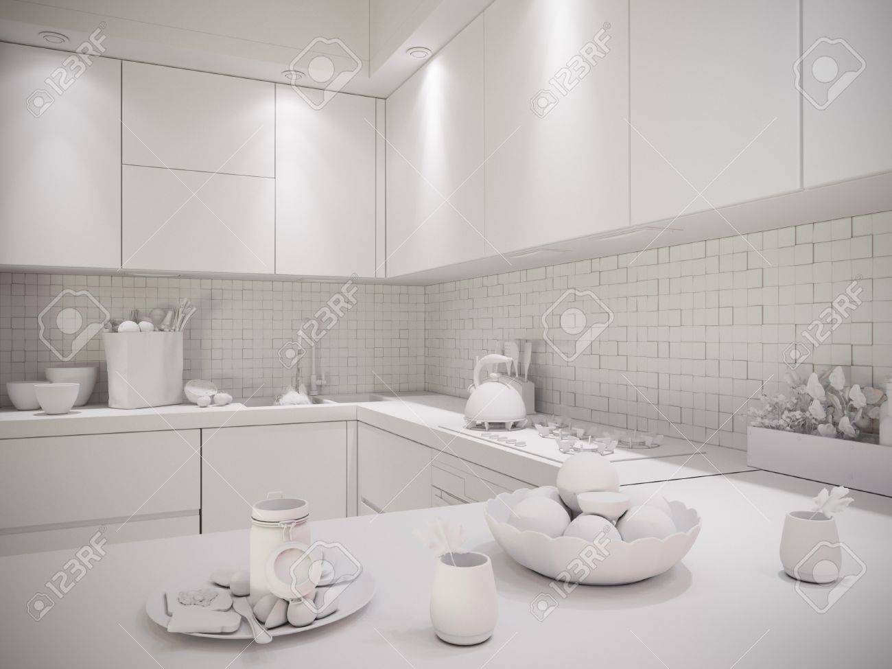 3d Illustration Of A Townhouse Interior Design Kitchen In A Modern on townhouse condo, townhouse floor plans, townhouse with garage, townhouse stoop, townhouse construction, townhouse elevations, townhouse rentals, townhouse living, townhouse from inside,