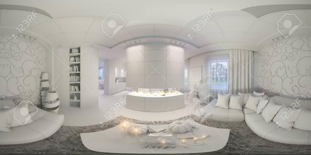 3D-Darstellung Sphärischer 360 Grad, Nahtloses Panorama Von ...